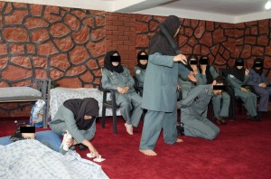 Practical training session at the ANP HQ in Balkh. The purpose is to train female officers to be able to respond to domestic violence situations and apprehend a male perpetrator using non-lethal methods.